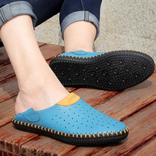 2019 new summer large size sandals men's leather fashion Roman hole shoes Europe and the United States breathable men's shoes europe and the united states personality men s shoes iron head dragon embroidery tip men s shoes low help leather casual shoes