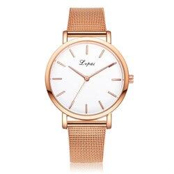 Mode femmes or Rose/argent en acier inoxydable montre analogique Quartz montre-bracelet montre femme élégante femmes montres LVPAI