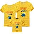 1Psc despicable me minions niños ropa de la muchacha embroma la camiseta de manga corta camisetas Familia equipado Camisetas Niños Remata Camisetas de algodón