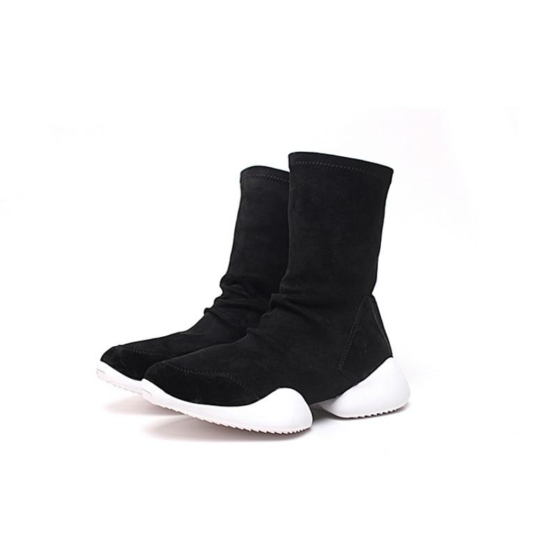Homens Meia Sapatos Mid Calf Botas Flock Equitação Formadores De Luxo Amantes de Inverno Sapatilhas Ocasionais Apartamentos Sapatos Plus Size Preto 45 botas - 3