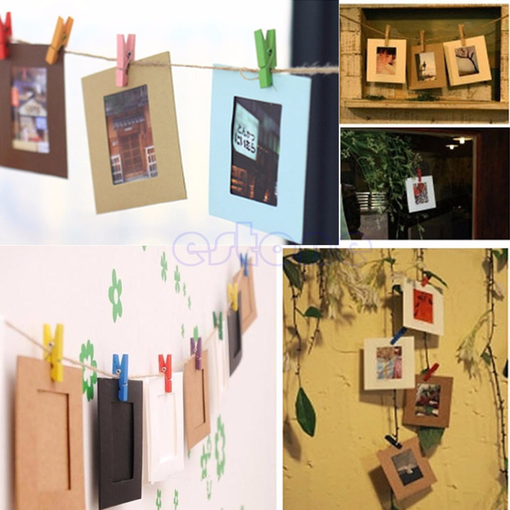 10x 3inch Paper Photo Flim Diy Wall Picture Rope Hanging Album Stand Frame  Clips(china