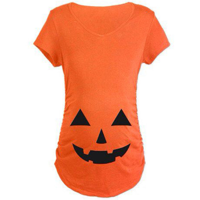 k257 2016 new maternity tops pregnancy funny women short sleeve maternity tshirts halloween pumpkin printed maternity