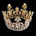 Золотой Свадебные Хрустальные короны, Тиары Принцесса Королева Театрализованное Пром Горный Хрусталь Блестящие Оголовье Свадебные Волос Accessores