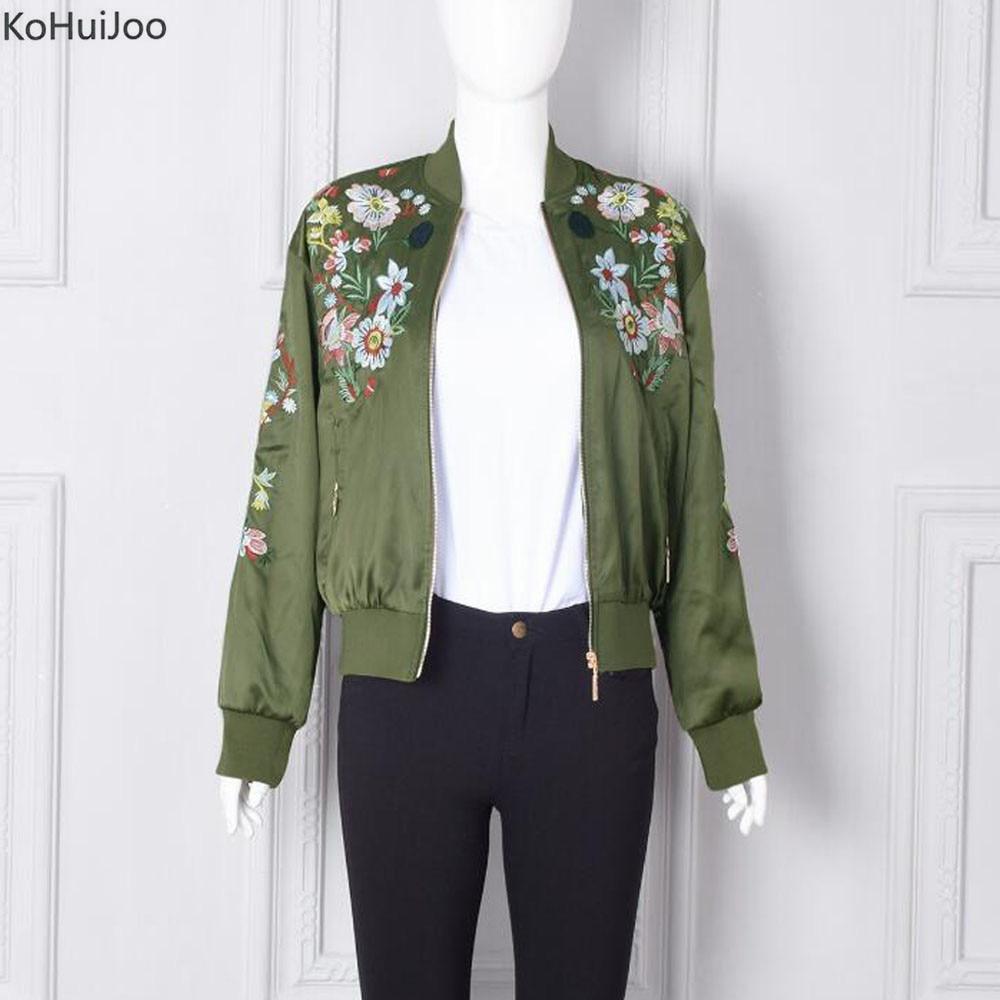 KoHuiJoo Spring Autumn Female Jacket Fashion Floral Embroidery Runway Bomber Jackets Women Long Sleeve Casual Basic Coats Green women s embroidery bomber jacket 2017 autumn high quality floral printed jacquard black