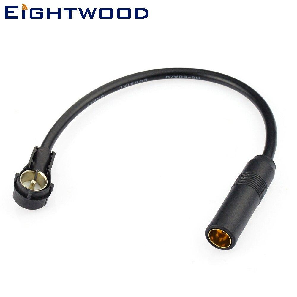 Eightwood Car AM FM DAB Radio Aerial Antenna Coax 20cm Adapter Lead DIN 41585 to ISO Plug for AUDI SEAT SKODA SMART VW Ford