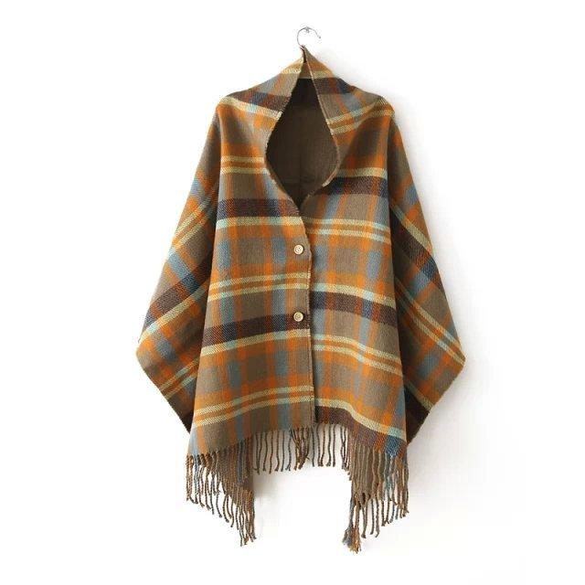 Original de um único botão xale de cashmere capa outono e inverno novo Ms. Lenços mais espessa dupla corrente Suge Zi