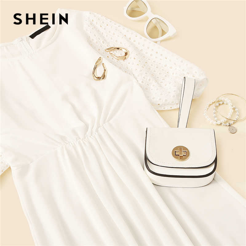 SHEIN Boho белое вышитое платье с рукавами-фонариками, однотонное летнее платье на молнии сзади, расклешенное платье трапециевидной формы 2019, повседневные платья