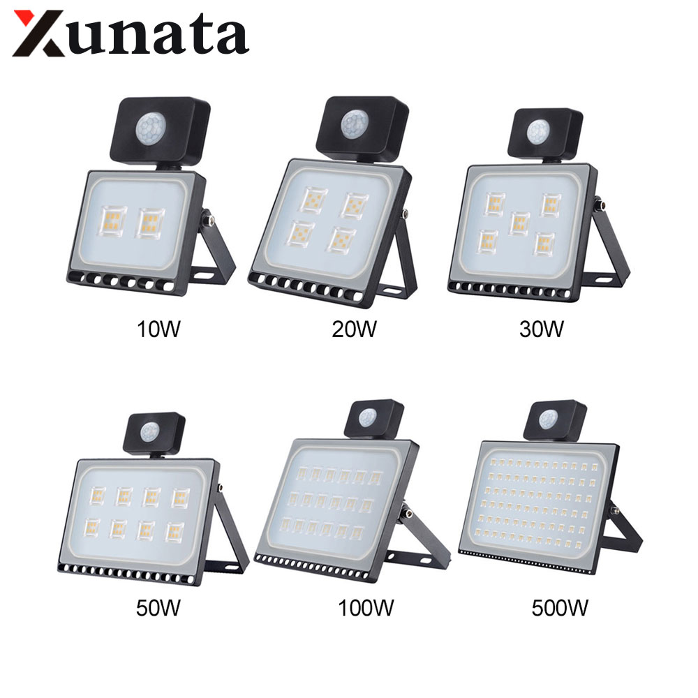 10W 20W 30W 50W 100W IP65 AC220V LED Spotlight Outdoor Ultrathin Sensor LED Flood Light Wall Garden Street Security Lights