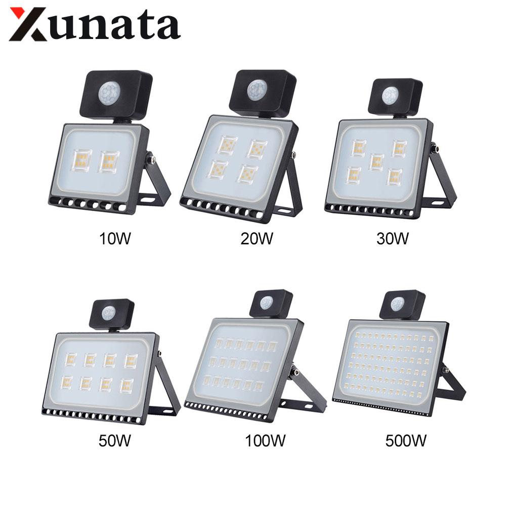 10W 20W 30W 50W 100W IP65 AC220V LED Spotlight Outdoor Ultrathin Sensor LED Flood Light Wall Garden Street Security Lights