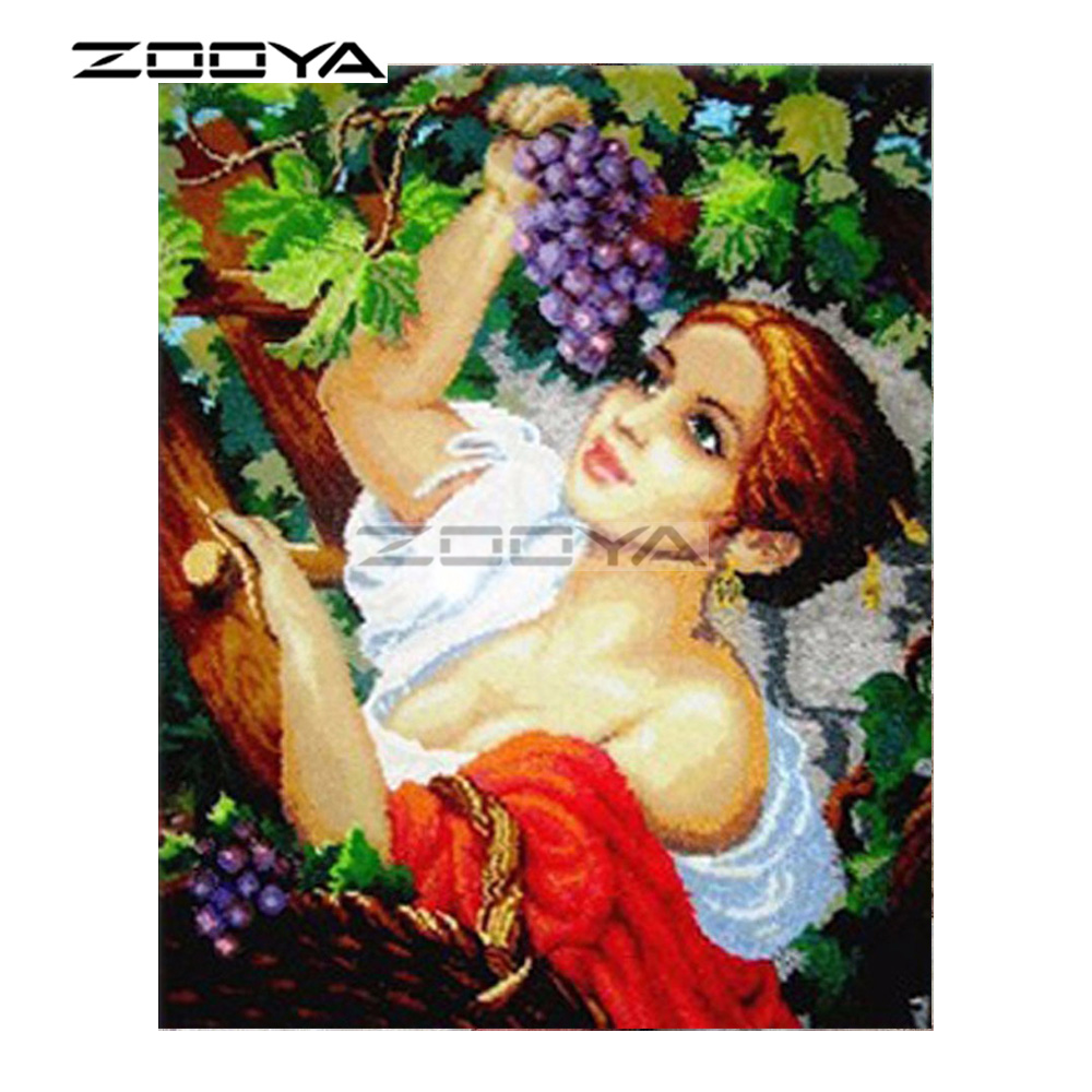 ZOOYA 5D DIY Diamond Woman Purple Grape Leaf Character Diamond Painting Cross Stitch Square Drill Mosaic Decoration BK797