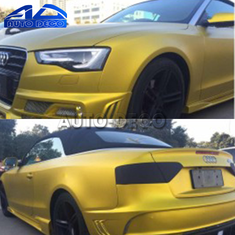 Golden Satin Matte Chrome for Full Car Body Wrap Matt Metallic Chrome Ice Vinyl Film with Air Bubble Free 1.52*20m/roll