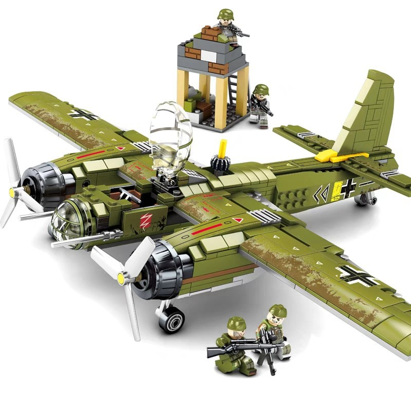 559pcs WW2 Military Series SWAT German Bomber Army Soldier Action Figures Building Blocks Toy For Children Christmas Gifts