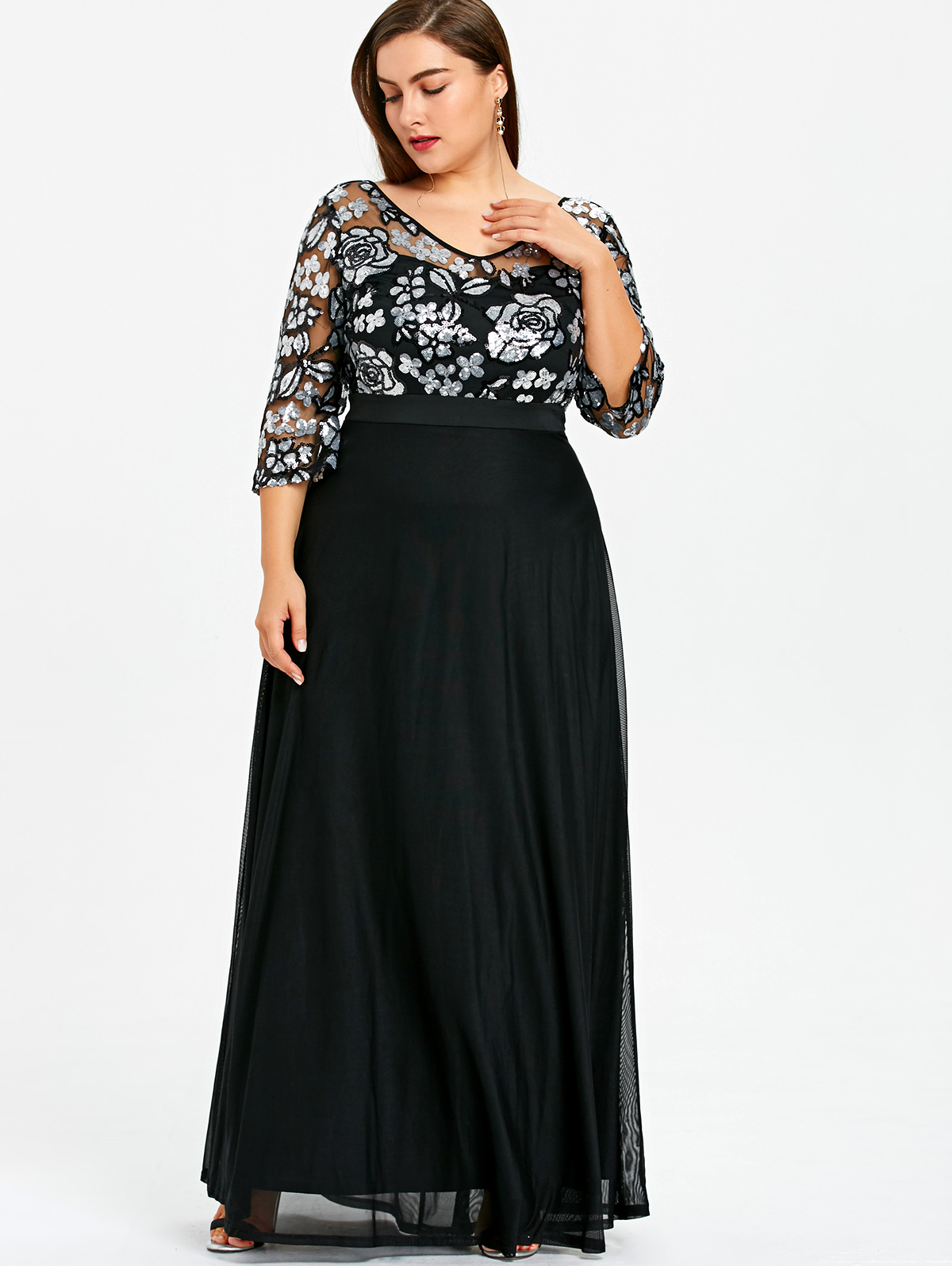 c6a307469ea שמלות - Gamiss Plus Size Sequined Floral Maxi Prom Women Party Long Dress  3 4 Length Sleeves Floral High Waist Woman Formal Dresses