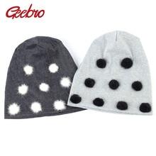 Geebro зимняя женская Шапка-бини с помпоном простые хлопковые мешковатые шапки-Боб с помпонами из меха норки Skullies& Beanies chapeau femme