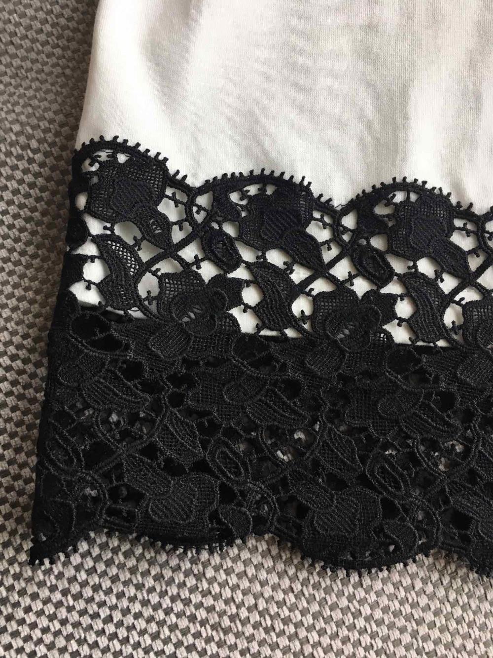 Décontracté Courtes T Féminin Dentelle Couture Qualité Col Impression Supérieure Dame Manches Femme 0309 Rond shirt Pour 2019 w06Egq