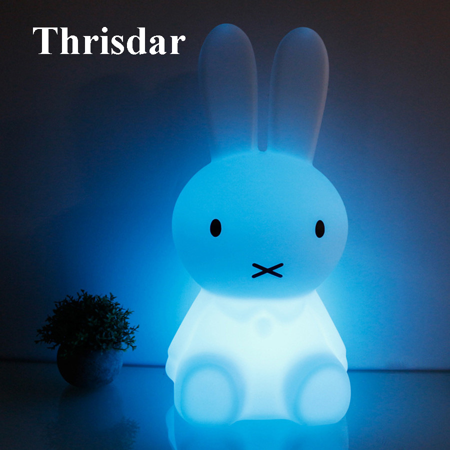 Thrisdar 28CM RGB Rabbit Led Night Light With Remote Bedside Table Baby Sleeping Light Birthday Gift Kids Baby Toy's Light thrisdar 28cm usb rechargeable novelty rabbit led night light cartoon rabbit atmosphere desk table light baby kids toy s light