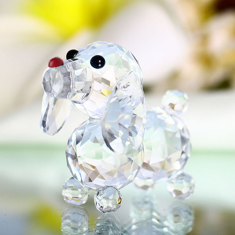 Artificial Crystal Glass Dog Figurines Paperweight Crafts Table Home Gifts Decor