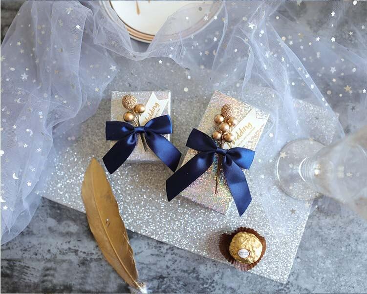 Livraison gratuite 50pcs faveur de mariage or perle amour fruit fleur mignon créatif étoilé ciel bleu boîte à bonbons a coffrets cadeaux pour invité-in Sacs-cadeaux et emballages from Maison & Animalerie    2