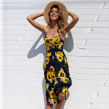 JSMY Women New Sunflower Pineapple Pattern Print Sling Buttoned Backless Sexy Dress Holiday Beach Dress sunflower print strap dress