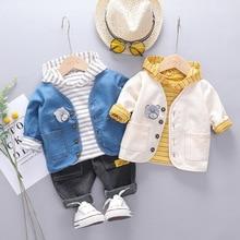 Коллекция года, Осенние комплекты одежды для маленьких мальчиков полосатая футболка+ куртка+ штаны, детские спортивные костюмы из 3 предметов одежда для маленьких мальчиков