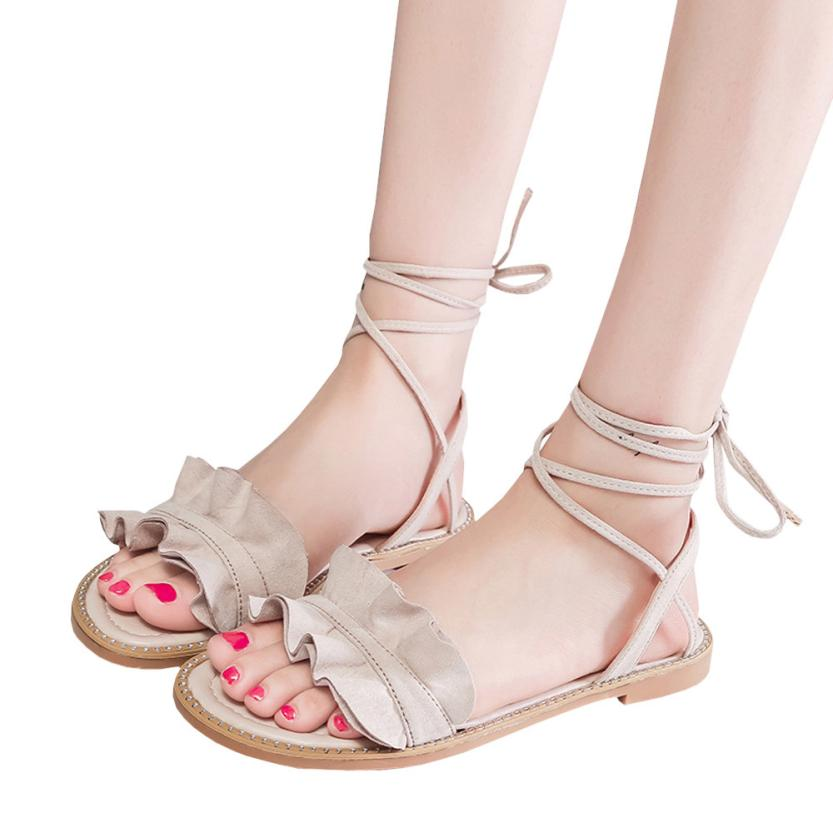 2017 hot sale on Women summer Sandals New Hot Fashion Summer Office Low Heel Casual Lace-Up Shoes wholesale A2000 size 30 43 woman ankle strap high heel sandals new arrival hot sale fashion office summer women casual women shoes p19266