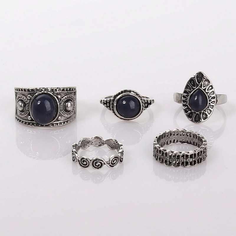 Bohemian Welle Tropfen Blau Zirkon Set Ring Vintage Ethnische Fengyun Kreis Fünf-stück Ringe Urlaub Geschenke Frauen Mode Zubehör