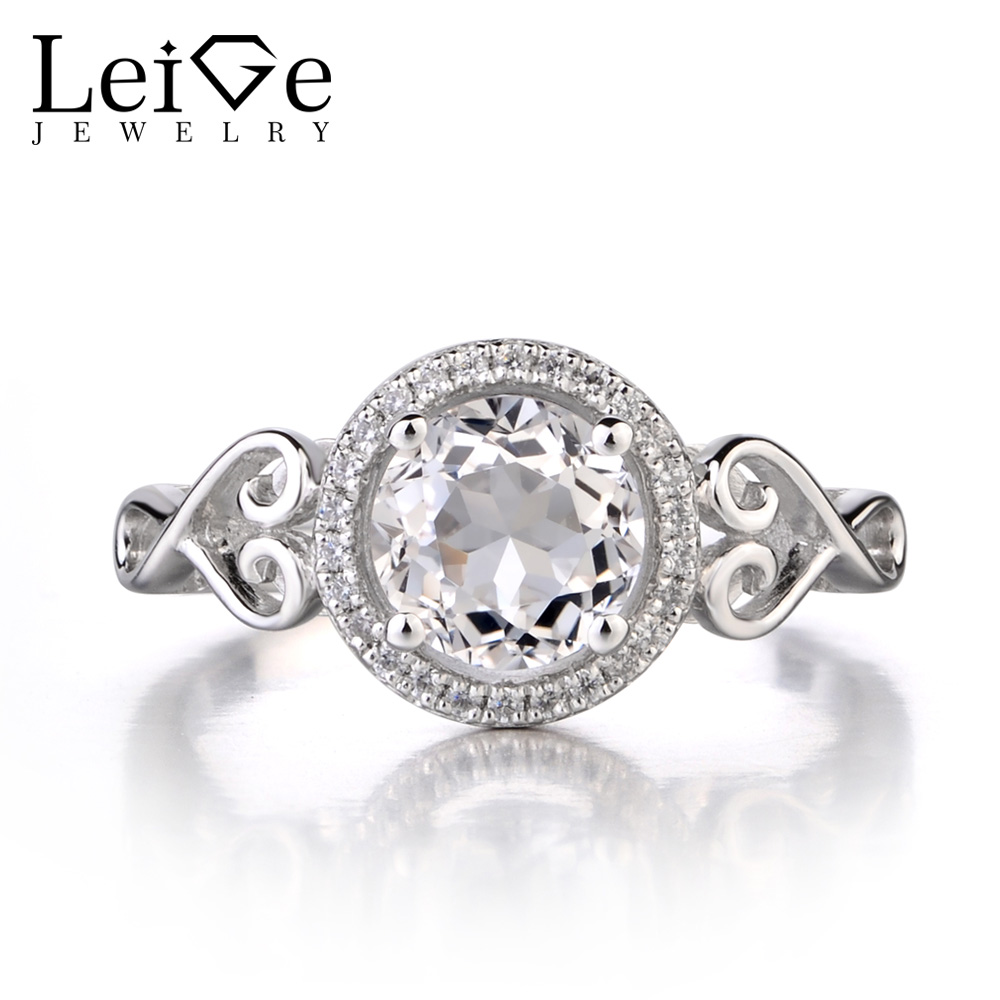 1feb46d912267 Leige Jewelry 925 Sterling Silver Natural White Topaz Ring Round Cut  Gemstone November Birthstone Promise Wedding Ring for Women