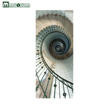 Maruoxuan New 3D Door Stickers Spiral Staircase Door Sticker Bedroom Door Corridor Decorative Murals PVC Waterproof Wall Sticker(China)