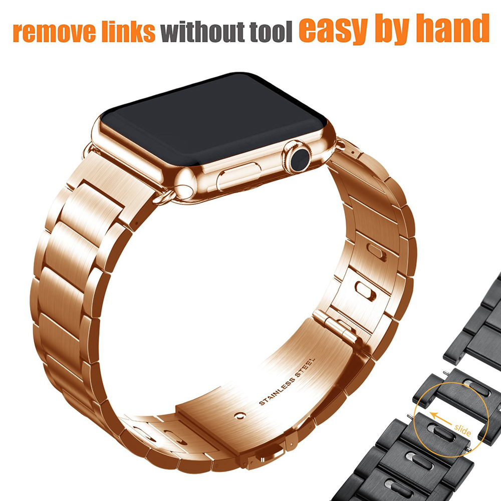 Apple Watch Band Stainless Steel Wristband Metal Buckle Clasp iWatch Strap Stripe Replacement Bracelet for Apple Watch 3/2 wristband silicone bands for apple watch 42mm sport strap replacement for iwatch band 38mm classic stainless steel buckle clock