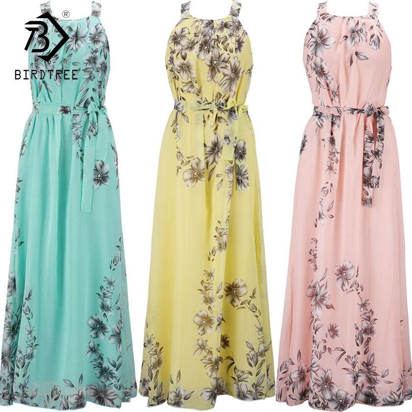 Plus Size S-6XL 2018 Summer New Women's Long Dresses Beach Floral Print Boho Maxi Dress With Sashes Women Clothing D86001L