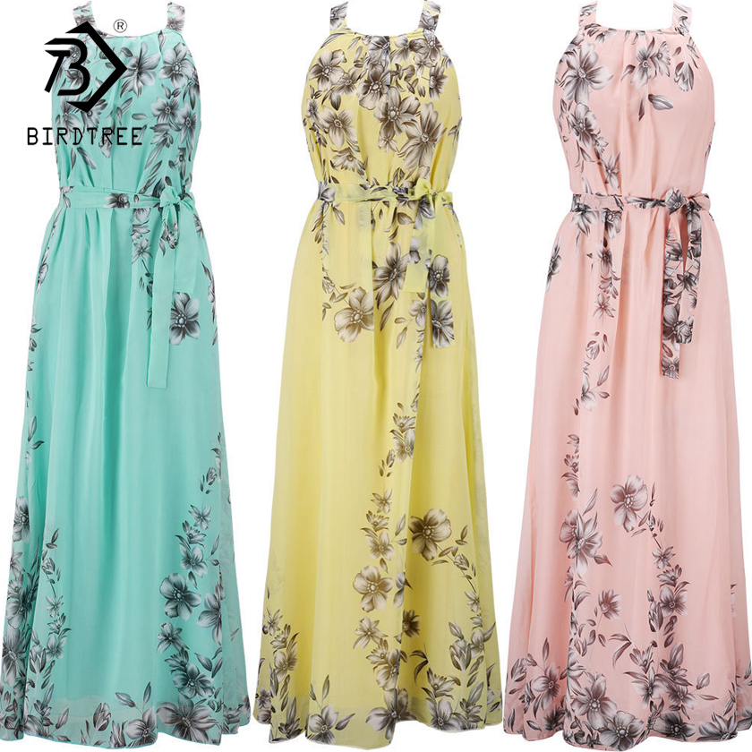 Plus Size S-6XL Sarafan Summer New Women's Long Dresses Beach Floral Print Boho Maxi Dress With Sashes Women Clothing D86001L(China)