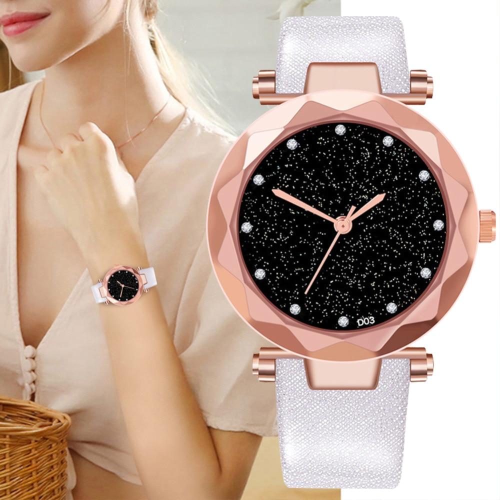 2019 Rhinestone Bling Dial Quartz Watches Women Leather Strap Analog Wristwatch Bayan Kol Saati Diamond Reloj Mujer