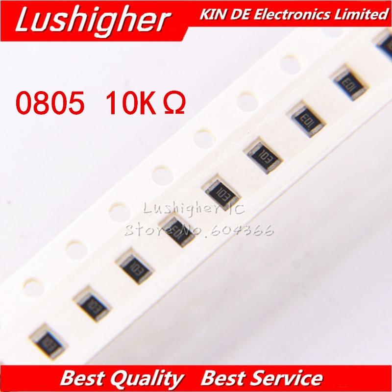 100PCS 0805 SMD Resistor 5% 10K Ohm 103 1002 10000ohm