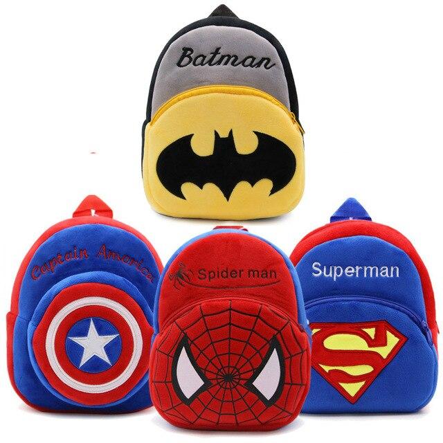 e1a535a2b2a Hot Mochila De Pelúcia Mochila de Pelúcia Brinquedo Dos Desenhos Animados  The Avengers Superman Spiderman Batman