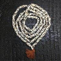 Budismo Tíbet yak hueso Real Natural Cráneo Hecho A Mano súper aceitoso hueso de yak 108 rosario Collar de cuentas de cuerno de Buey con espaciador racelet