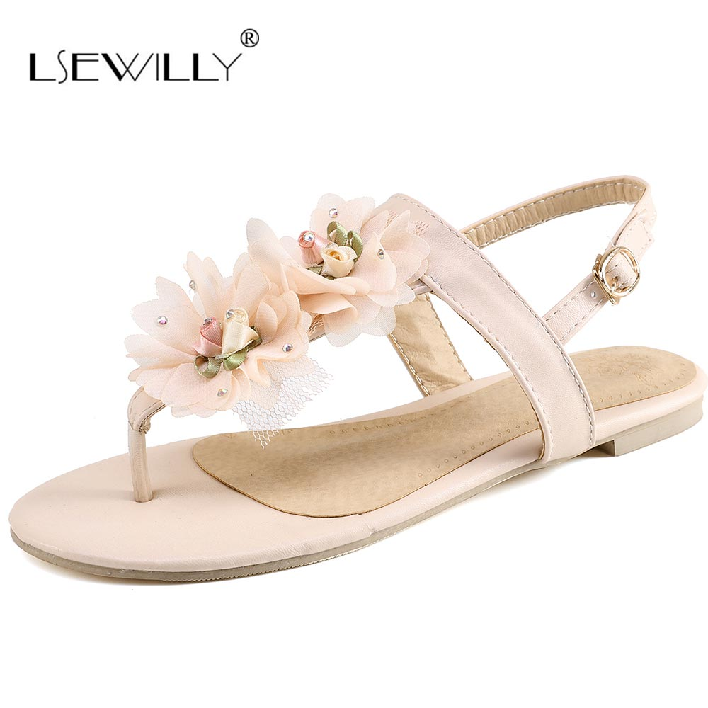 все цены на Lsewilly Summer Women Sandals Female Flower Buckle Shoes Sandals Women's Flat Sandals Shoes Women Shoes Bohemia Flat Shoes S019 онлайн