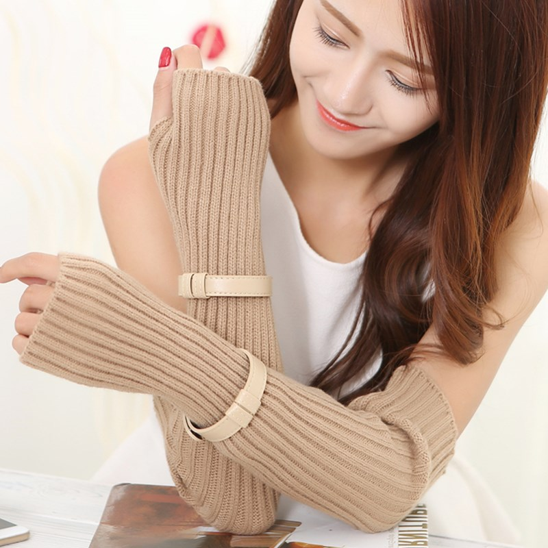 Autumn Winter Women's Arm Warmers Knitted Arm Sleeve Solid Superfine Long Knitted Fingerless Gloves With Decorative Strips