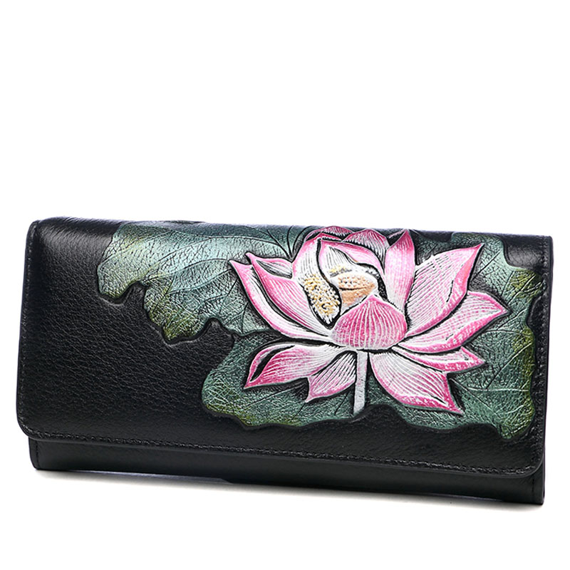 Vintage Lotus Woman Banquet Long Clutch Wallet Genuine Leather High Capacity Lady Purse Clutches Bag High Capacity Card Holder vintage serpentine genuine leather woman clutches evening bag crossbody chain shoulder bag handbag clutch wallet lady long purse