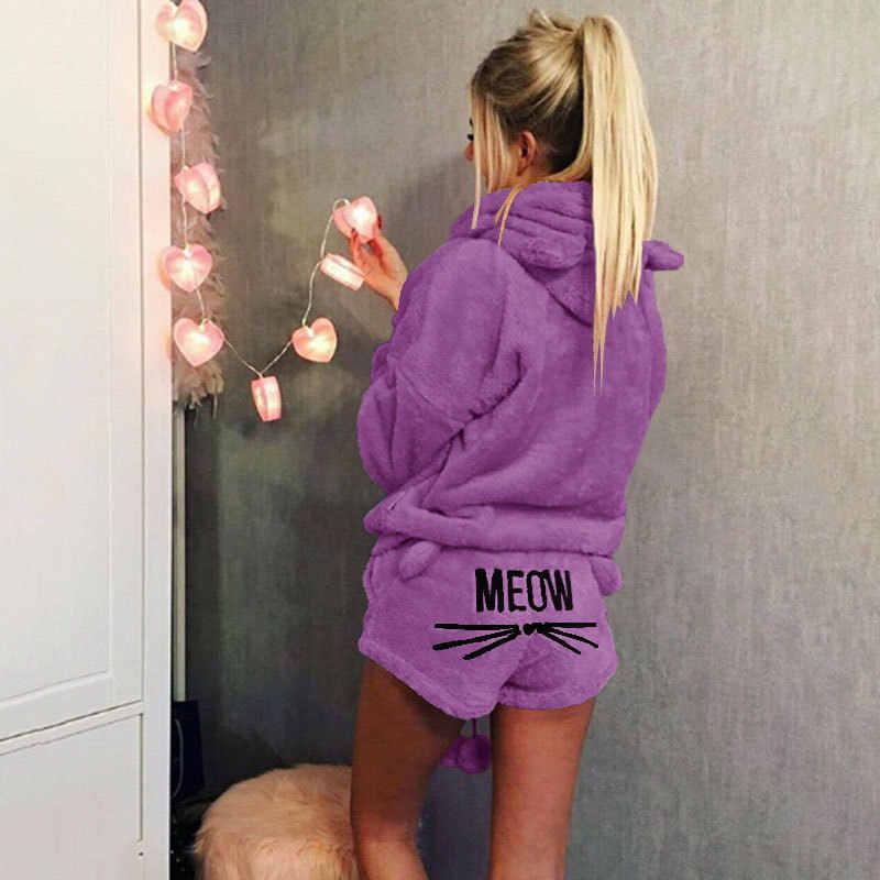 Miễn Phí Vận Chuyển Bộ Đồ Ngủ Nữ Bộ 2018 Thu Đông Nỉ Pijama Ấm Pyjamas Homewear Váy Ngủ Đồ Ngủ Mèo Nữ Pyjama