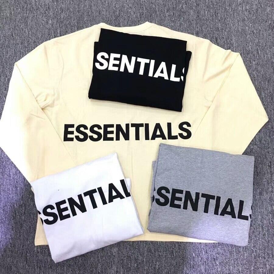 135a7246d659 18SS New Summer Autumn Men Women Fear Of God T-Shirts Streetwear FOG  Essentials Graphic Long Sleeve T shirt 4 color S-XL