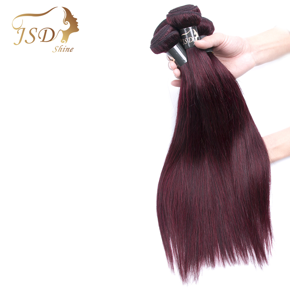 JSDShine Brazilian Hair Straight Burgundy 99J Red Color Human Hair Weave Bundles Double Weft Hair Extension 3 Bundles Non Remy