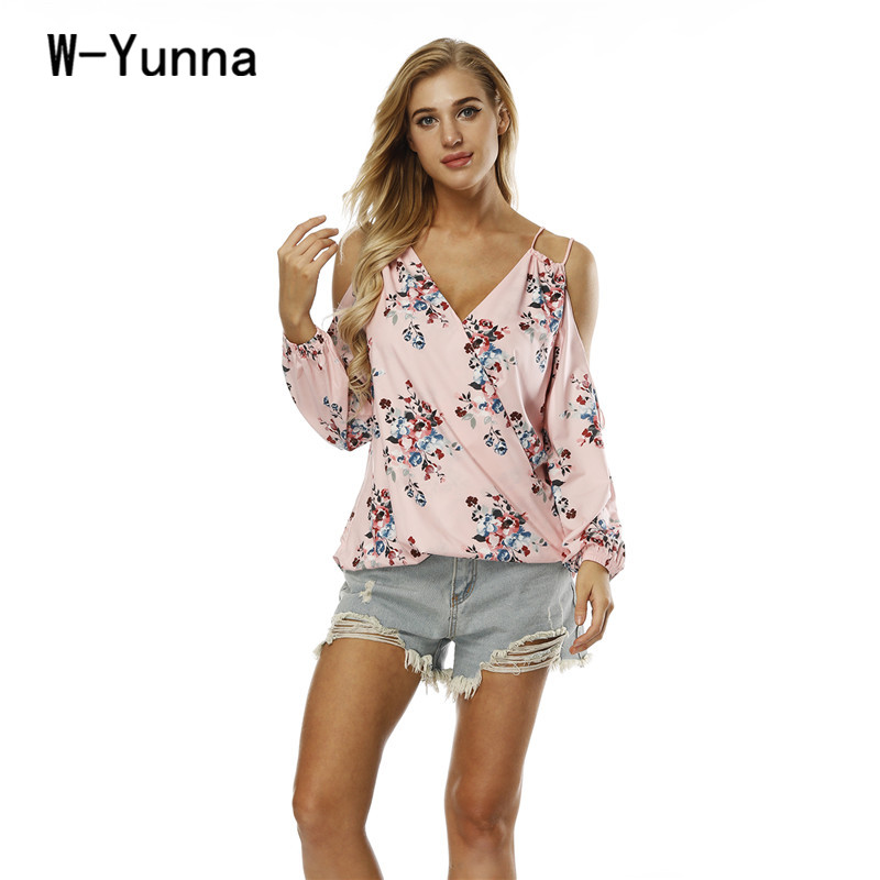 W-Yunna 2018 New Women Strap off Shoulder Full Sleeves Tshirts V-neck Loose Floral Camisetas Mujer Sexy Sweet Summer top Femme