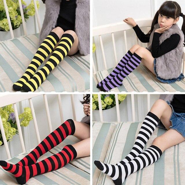 c19ce970d 2018 Kids Knee High Socks Cotton Halloween Long Tube Girls Knee Socks  Stripes Old School Harajuku