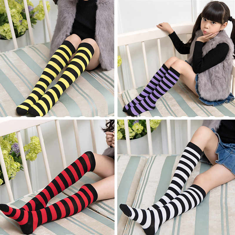 d5b3735d8 2018 Kids Knee High Socks Cotton Halloween Long Tube Girls Knee Socks  Stripes Old School Harajuku