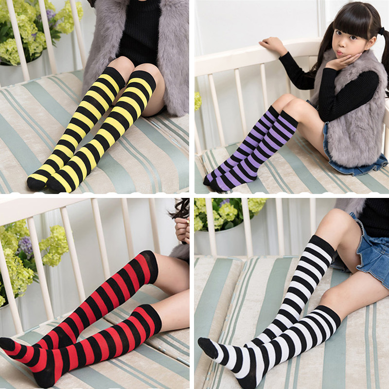 Kids Knee High Socks Cotton Halloween Long Tube Girls Knee Socks Stripes Old School Harajuku Socks Boys Girls Striped Cute Color