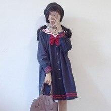 Harajuku матросский воротник темно-синее платье японская мода сладкий лук мягкая сестра Девушка Прекрасный Хлопок Kawaii преппи длинный рукав платья