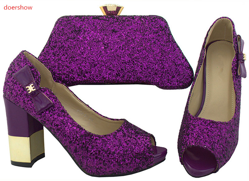 doershow Top Selling Italian Women Pumps Lady Shoe and Bag Set African Shoes and Matching Bags For Party/purple color SWR1-5 doershow italian shoe with matching bag silver african shoe and bag set new design matching shoes and bags for party bch1 6