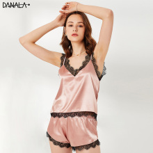 DANALA Sexy Lace Women Pajamas Sets Nightwear Summer Silk Satin V-Neck Sleeveless Female Sleepwear Sets