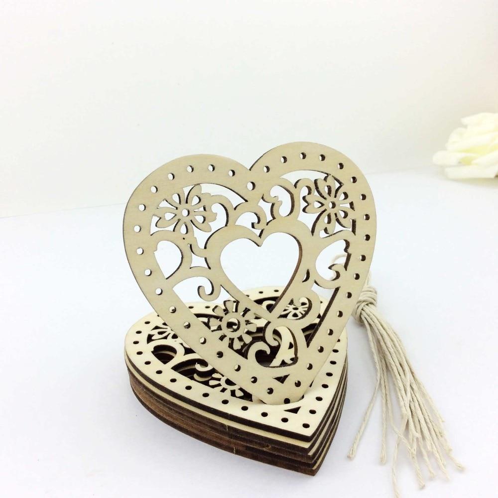 Metal heart ornaments - Gift Xmas Ornaments Wooden Heart Christmas Tree Hanging Decorations 2016 China Mainland