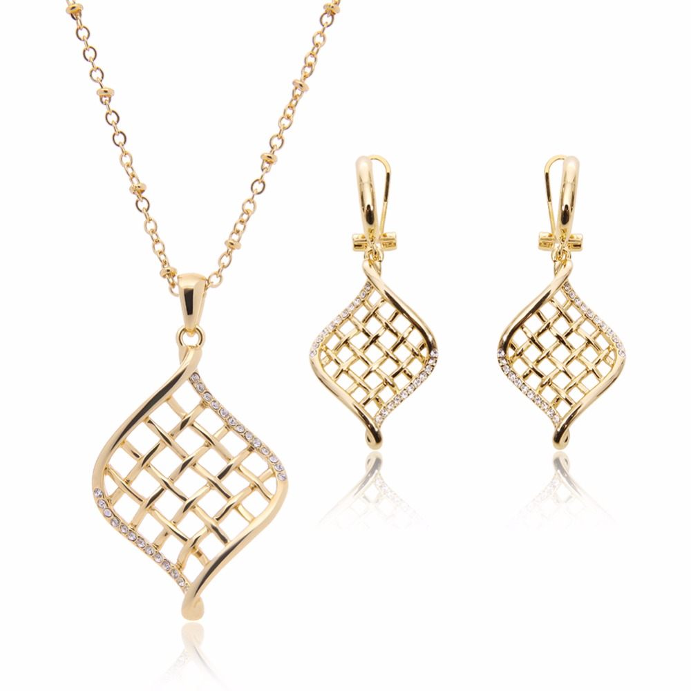 2017 Hot African Jewelry Gold Color Crystal Pendant Necklace And ...